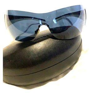 Prada white and dark blue futuristic sunglasses